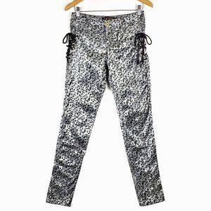 Y2K Dereon Silver Black Animal Print Side Tie Pant